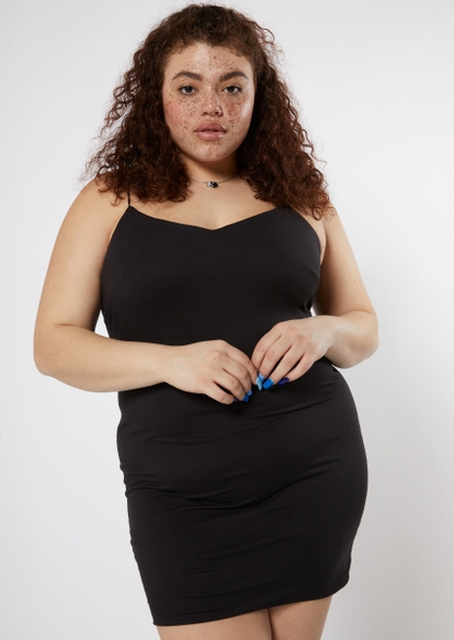 plus black super soft bodycon dress - Main Image