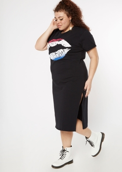 plus black ombre lip graphic t-shirt dress - Main Image