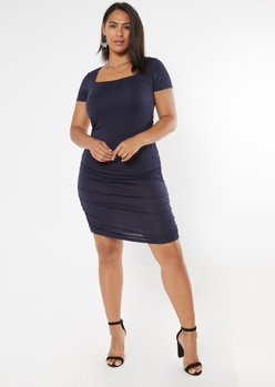 plus navy square neck ruched bodycon dress - Main Image