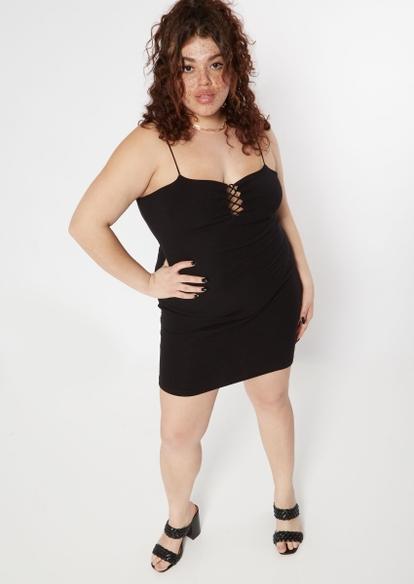plus black bungee lace up mini dress - Main Image
