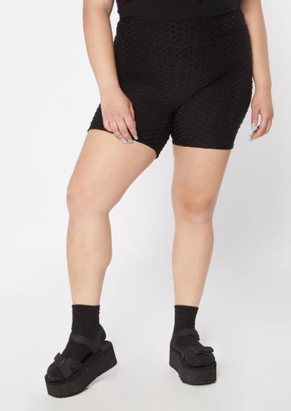 plus black ruched back honeycomb bike shorts - Main Image