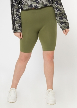 plus olive seamless bike shorts - Main Image