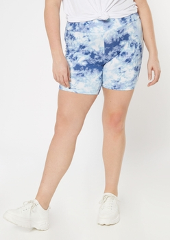 plus blue tie dye bike shorts - Main Image