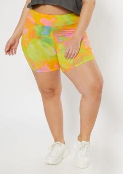 plus yellow tie dye bike shorts - Main Image