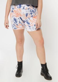 plus peach tie dye bike shorts - Main Image