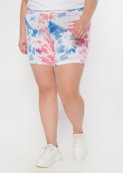 plus neon tie dye bike shorts - Main Image