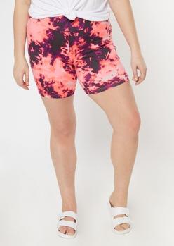 plus pink tie dye bike shorts - Main Image