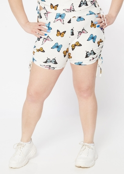 plus white butterfly print ruched bike shorts - Main Image