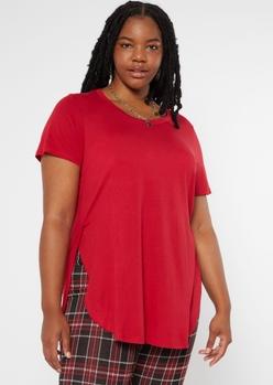plus red side slit tunic tee - Main Image