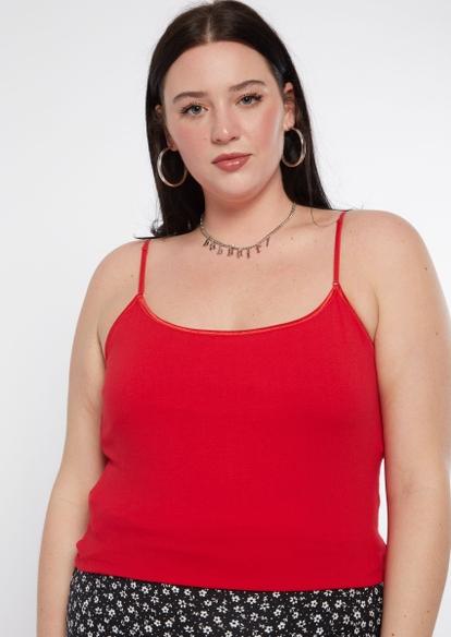 plus red scoop neck cami - Main Image