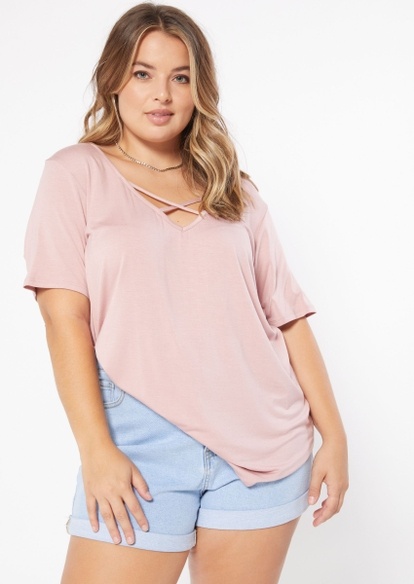 plus pink cross front v neck tunic tee - Main Image