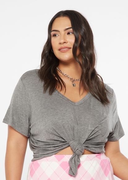 plus gray v neck pocket tee - Main Image