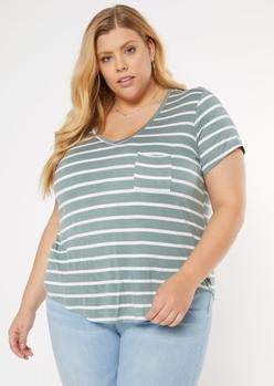 plus sage green striped favorite tunic tee - Main Image