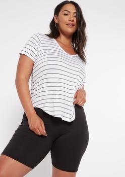 plus white striped favorite tunic tee - Main Image