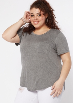 plus gray chest pocket favorite tunic tee - Main Image