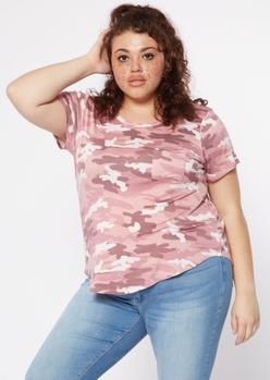 plus pink camo print favorite tunic tee - Main Image