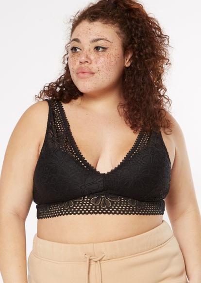 plus black crochet v neck bralette - Main Image