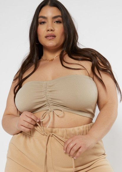 plus tan ruched front seamless bandeau - Main Image