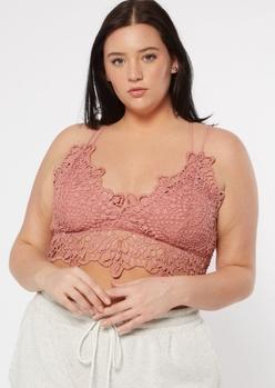 plus pink scalloped crochet bralette - Main Image