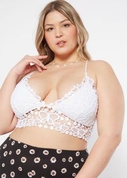 plus white butterfly crochet bralette - Main Image