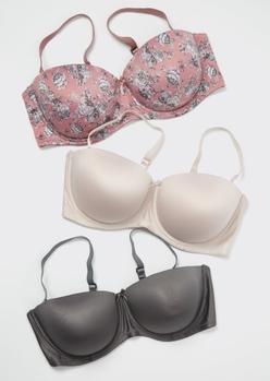3-pack mauve rose print balconette bra set - Main Image