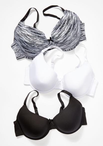 plus 3-pack black space dye print t-shirt bra set - Main Image
