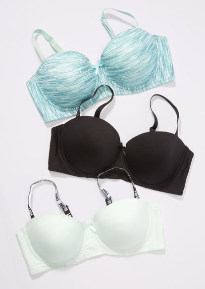 plus 3-pack blue space dye convertible balconette bras - Main Image