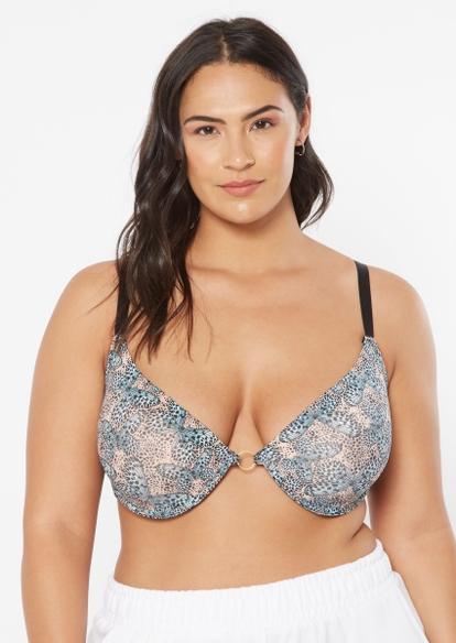 3-pack plus blue butterfly print t-shirt bra set - Main Image