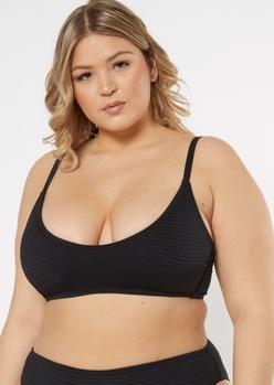 plus black smocked sporty bikini top - Main Image
