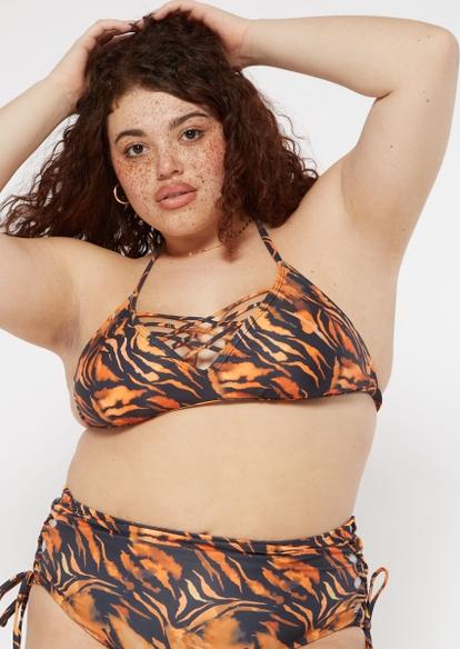 plus tiger print strappy halter bikini top - Main Image