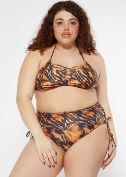 plus tiger print lace up bikini bottoms - Main Image