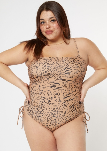 plus animal print ruched side swimsuit - Main Image
