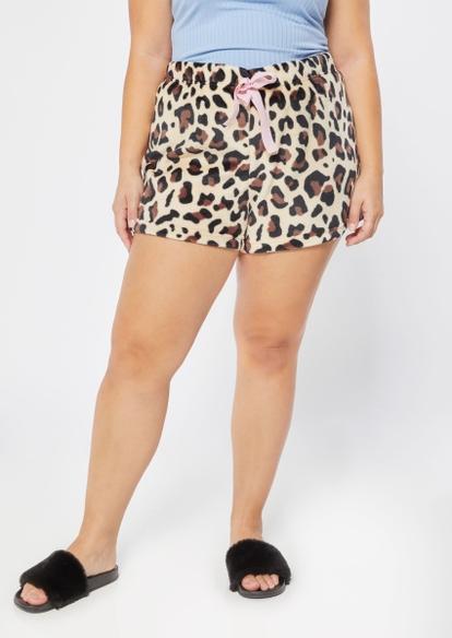 plus cheetah print plush pajama shorts - Main Image