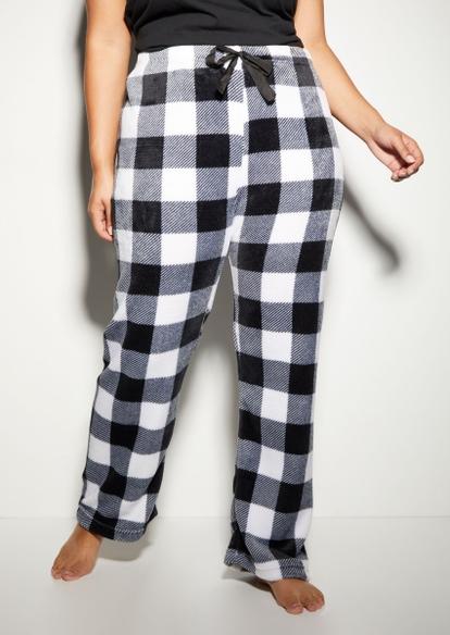 plus white buffalo plaid print plush pajama pants - Main Image
