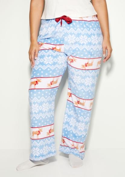 plus reindeer fair isle plush pajama pants - Main Image