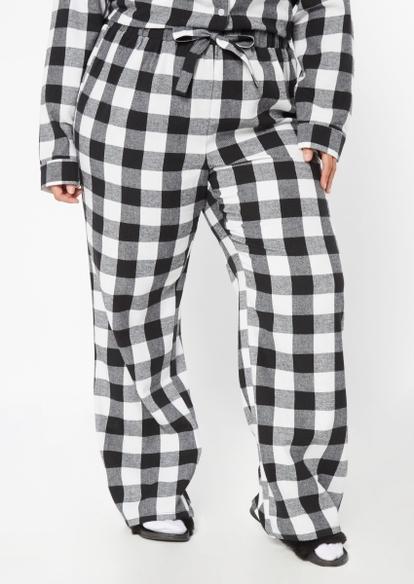 plus black plaid flannel sleep pants - Main Image