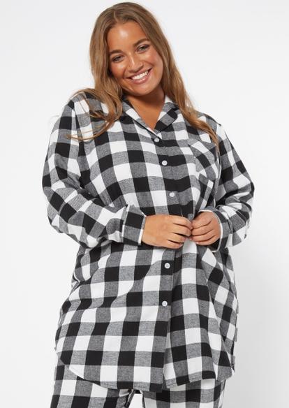 plus black plaid oversized flannel sleep shirt - Main Image